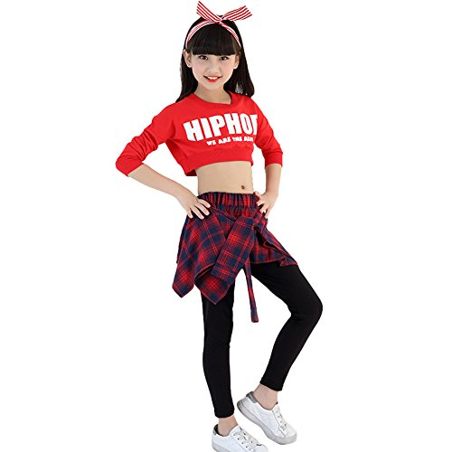 2 STÜCKE Mädchen Runde Kragen Street Jazz Dance Kostüme Hip Hop Outfit Kinder Culottes (152/164, rot) (Street Jazz Dance Kostüm)