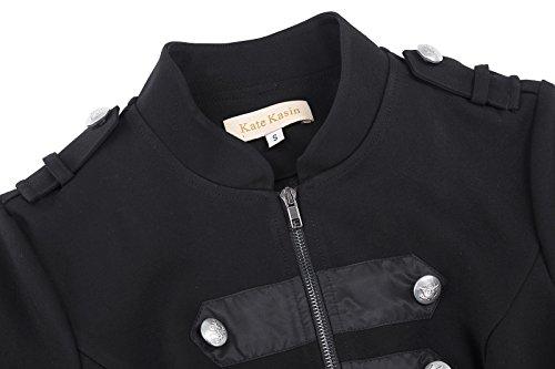 Kate Kasin Giacche da Donna con Chiusura a Zip Cappotto Nero Blazer Militari IT464