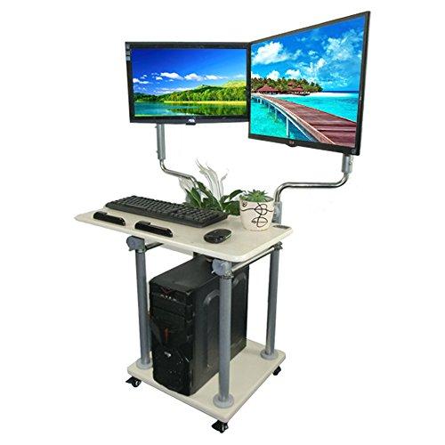 Zhuozi FUFU Wandhalterung Stehende Computer-Schreibtisch-Station höhenverstellbar für Büro-Klassenzimmer-Arbeitsplatz-Unterstützung 2 Monitoren Drop-Blatt-Tabelle (Computer Im Klassenzimmer)