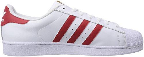 adidas Superstar Foundation, Herren Sneakers, Weiß (Ftwr White/Scarlet/Ftwr White), 45 1/3 EU -