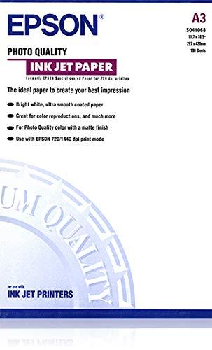 Epson Papier für Tintenstrahldrucker in Foto-Qualität matt beschichtet A3 297 x 420 mm 102 g/m² 100 Blatt