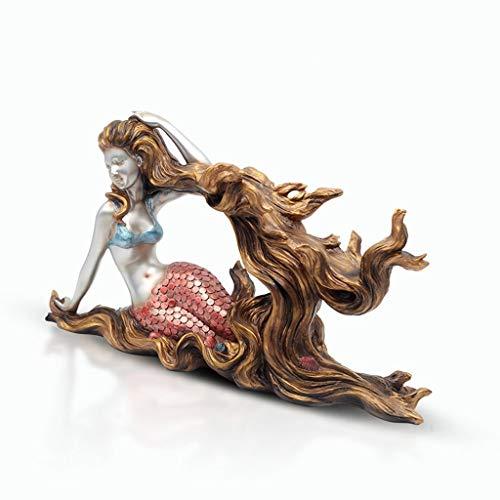 GYP-BJ Kunsthandwerk Meerjungfrau Weinregal Ornamente, Wohnzimmer Schlafzimmer Harz Dekorationen Handwerk Dekorationen, 48 * 18 * 26 cm (Color : A) -