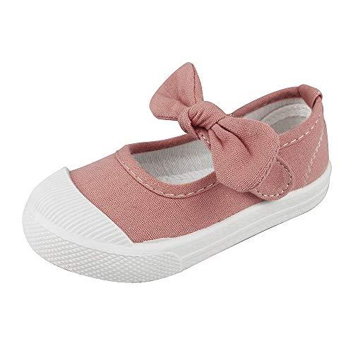 LACOFIA Kinder Canvas Sneakers Bowknot Segeltuchschuhe Mary Jane Schul Schuhe für Mädchen Rosa 26 (Janes Mary Schuhe Mädchen)