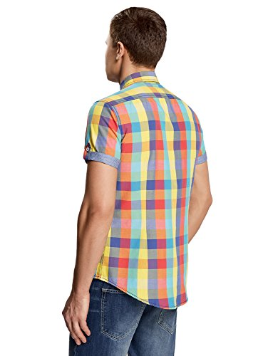 oodji Ultra Herren Tailliertes Kurzärmeliges Hemd mit Karo-Muster Mehrfarbig (1900C)