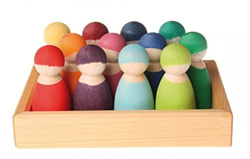 Grimm's Set of 12 Rainbow Friends Peg Dolls - Wooden Pretend Play People Figures with Storage Tray