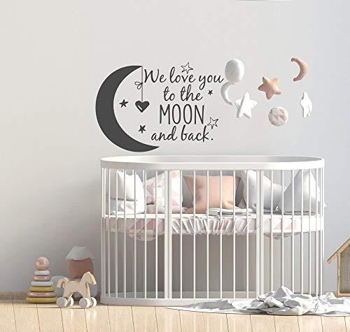 Mond und zurück Wandtattoo Kinderzimmer Zitate Mond und Sterne Wandaufkleber Kinderzimmer Dekor Ideen 57 * 40 ()
