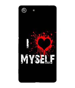 FUSON Designer Back Case Cover for Sony Xperia M5 Dual :: Sony Xperia M5 E5633 E5643 E5663 (I Love Myself Bloody Heart Black Background)