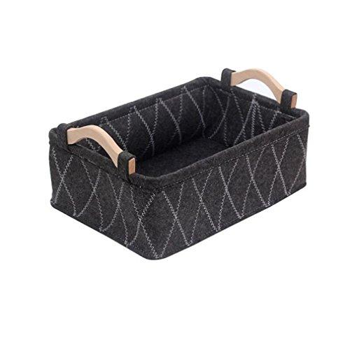 XIAOMEIXI Felt Fabric Storage Basket Multifunktionale Store Box für Home Kosmetik Snacks Unterwäsche Socken Grau Schwarz 26 * 18 * 9,5cm (Record Rack Storage)