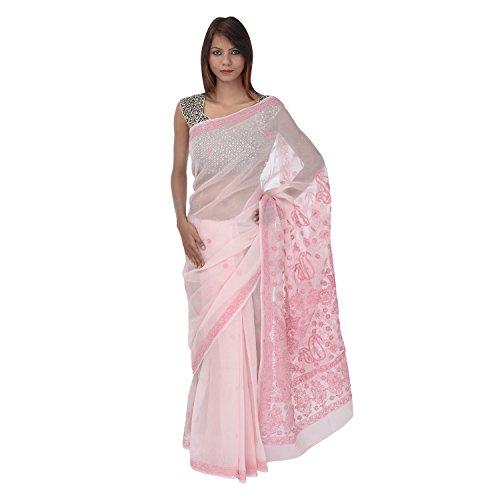 Saundarya Sarees Women Cotton Chikan Light Pink Saree