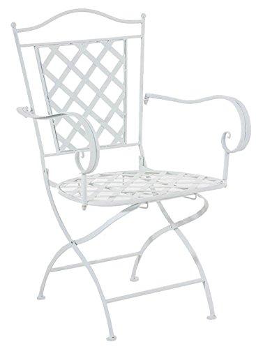 Chaise en fer coloris blanc - 93 x 56 x 51 cm -PEGANE-