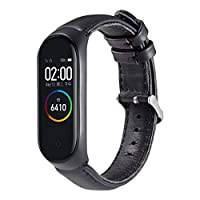 88AMZ Replacement Leather Strap Band Compatible for Xiaomi Mi Band 4, Adjustable Replacement Sport Straps Fitness Wristband Fits Xiaomi Mi Band 4 (Black)