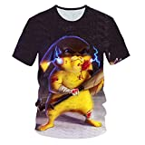 Small Team T-shirts 3D Pikachu Pokemon Col ras du cou Manches courtes Convient pour le printemps et l'été Convient pour garçons, filles, adolescents Unisexe Imprimé Hip-Hop Spring Fashion Top Tee S 16