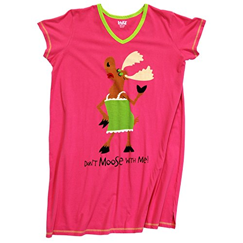 Lazy One Womens Don't Moose Me Nightshirt V Neck