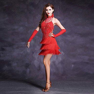 kekafu Wir Latin Dance's Kleider Frauen Polyester Milch Fibre Quaste Strass Pailletten 5 Stück hohe ärmellose Kleid Tanz Kostüm, Rot, L (80 Rockstar Kostüme)