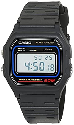 Casio Collection Men's Watch with Grey Digital Display and Resin Strap W59-1V