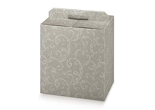 5 scatole DAMASCATO TORTORA robusta cm.28x20x35h strenne natalizie cartone accoppiato e maniglia est