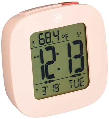 Marathon cl030058pi Kompakte Reise Wecker mit Schlummerfunktion, Kalender, Temperatur und Datum-Pink-Inklusive Batterien