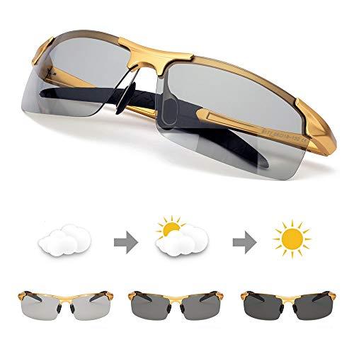 TJUTR Polarisierte Sonnenbrille Herren Photochromatisch Sports für100% UVA UVB Schutz Metallrahmen Leicht (Gold/Grau)