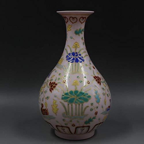Plzxy Porzellan Ming Chenghua rot dünne Reifen DREI Farben Lotusblume Jade Topf Frühling Flasche handgemachte antike Handwerk Porzellan Ornamente (Reifen Replik)