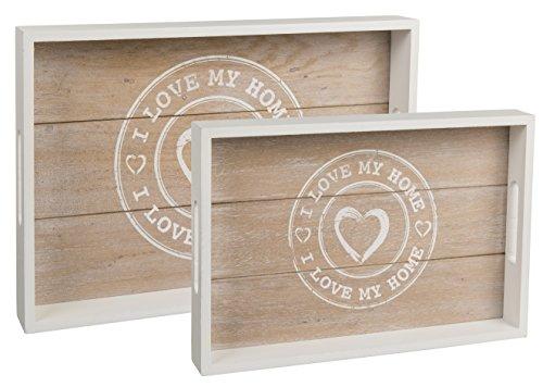 Bada Bing - Juego de 2bandejas de madera 'I Love My Home' con corazón y base vintage