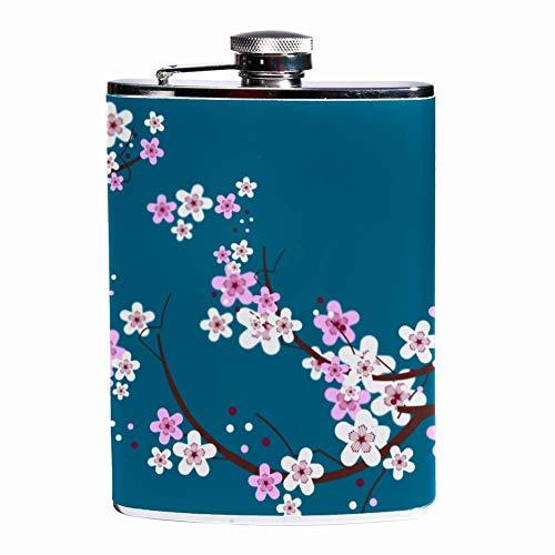 Leak Proof Liquor Hip Flask 7.6 oz Flagon Mug Leather Cover with Cherry Blossom With Bird print Pocket Container for Discrete Shot Drinking of Whiskey Alcohol Liquor Cherry Blossom Sake Set