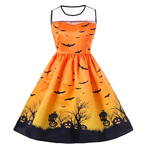 Karneval Damen Kostüm Fasching Halloween,Transwen Frauen O-Neck Print Sleeveless Halloween Vintage Kleid ärmelloses Kleid Abend Swing Kleid (S, Gelb)