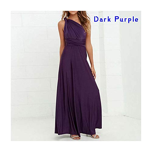 DROTYK& Women Convertible Multi Way Wrap Sexy Long Maxi Formal Party Evening Ball Gowns Dark Purple M Annie Slip