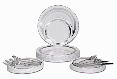 Set / 25 Gast - Hochzeit Kunststoff Teller & Besteck - Einwegschwergewicht Essgeschirr 10.5 '', 7.5 '' + Silber w/Doppelgabel (Soleil Weiß und Silber Rim) ()