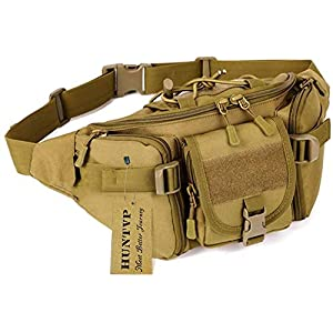 Huntvp® Taktische Gürteltasche Sport Hüfttasche Molle Bauchtasche Wasserabweisend mit Reißverschluss für Outdoor Laufen…