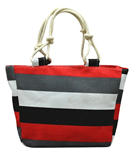 GetThatBag© Donne Grande Tela Beach brillante Tote Shopper Handbag - Bold Blu Giallo Rosa Rosso Viola Grigio Marrone Verde Nero Stripes floreali Circles Chevron Grey Red Stripes