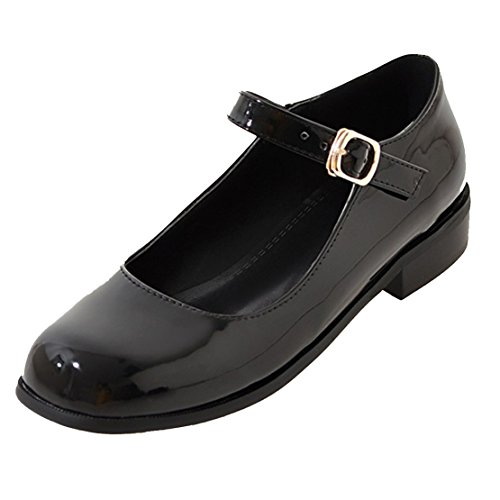 AIYOUMEI Damen Lack Geschlossen Knöchelriemchen Blockabsatz Mary Jane Pumps mit Schnalle Süß Schuhe
