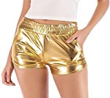 DODOING Damen Shiny Metallic Rave Booty Tanz Shorts Frauen Sommer Wetlook Hot Pants Casual Lose Yoga Kurze Hosen mit Taschen