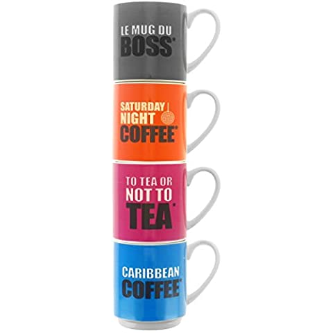 Promobo - Coffret Cadeau Set 4 Mugs Tasses Empilables Senseo Inscription Humour