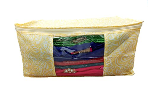 Prem Industries Special Heavy Quality Non Woven Designer Saree Cover/Wedding Sarees Lahenga Cover/Wardrobe Organiser Bag Gold Printed (with Zip Lock) Golden Colour *Special for Womens*