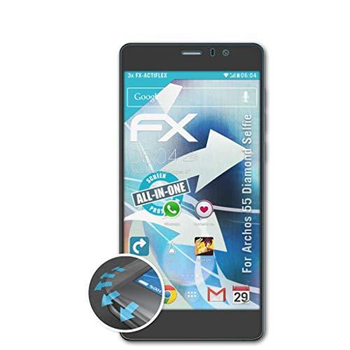 atFolix Schutzfolie passend für Archos 55 Diamond Selfie Folie, ultraklare & Flexible FX Bildschirmschutzfolie (3X)