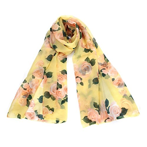 Bufandas para Mujer,Xinan Collar Rosa Largo Gasa Robó las Bufanda Mantón (Amarillo)