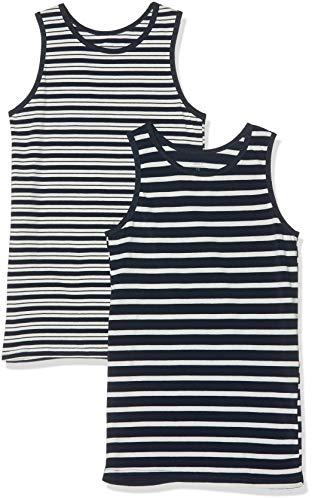 NAME IT Jungen NKMTANK TOP 2P Dark Sapphire YD NOOS Unterhemd, Mehrfarbig, 134/140 (Herstellergröße: 134-140) (2er Pack)