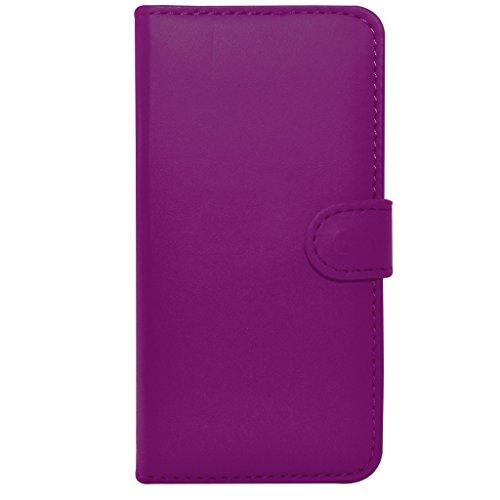 Apple iPhone 6S - Geldbörse aus Leder-Schlag-Fall-Abdeckungs-Beutel + Mini Stylus Pen + Screen Protector & Poliertuch (schwarz) Dark Purple