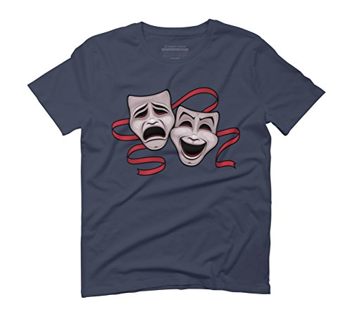 Comedy And Tragedy Theater Masks Men's Graphic T-Shirt - Design By Humans Navy