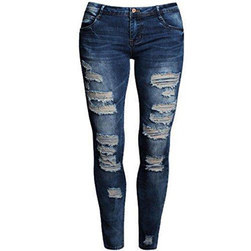 Tefamore Frauen Distressed Slim Jeans Hose Boyfriend Jeans Hose gerissen (M)