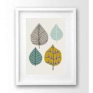 Kunstdruck Blätter retro, A4 ungerahmt Illustration türkis mint senf