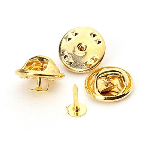 50× Milopon Schmetterling Kupplung Pin Abzeichen Kupplungen Butterfly Verschlüsse Clips mit Pferd Thorn Nadel (Gold)