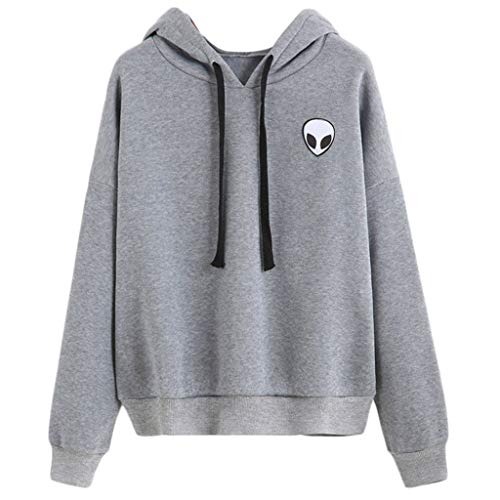 ZOUCY Womens Winter Autumn Sweatshirt Alien Printed Funny Hoodies Loose Pullover Tops - Gray - X-Large