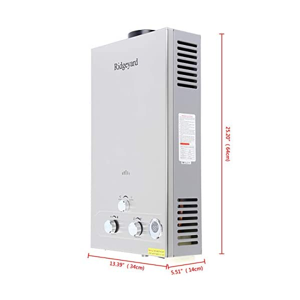 Ridgeyard 12L GLP gas propano sin tanque calentador de agua caliente instantáneo con cabezal de ducha