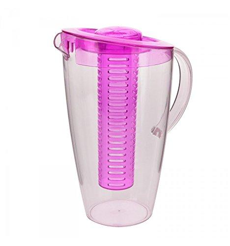 BEDO TRADE Kunststoff-Karaffe mit Frucht-Einsatz - 2 Liter Wasserkaraffe (Pink)
