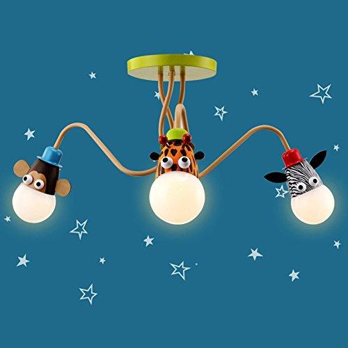 JiaYouJia Cute Animal Shaped Mehrfarben 3-Licht Semi Flush Mount Light, Deckenleuchte für Kinderzimmer Schlafzimmer (200-decken-beleuchtung)