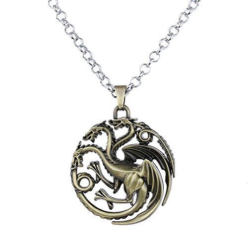 Lureme Spiel der Throne inspiriert Targaryen Anhänger Kostüm Halskette-Antique Bronze (Spiel Vintage Kostüme)