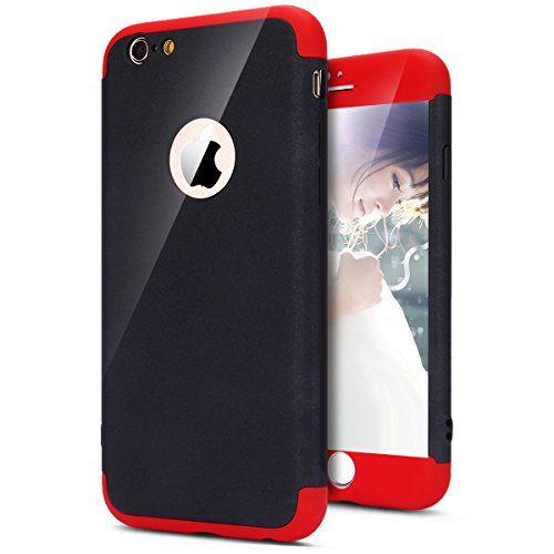 Coque iPhone 6 Plus, Coque iPhone 6S Plus Integrale Rigide, SainCat Ultra Slim Rigide Solide Plastique Coque pour iPhone 6/6S Plus 360 Degres Rigide, Coque Ultra Fine Dure pour Fille Ultra Resistante Full Cover Anti-Scratch Ultra Fine Cover Coque Plastique Souple, Coque Rigide Ultra Mince Premium Shockproof Ultra Thin Coque Housse Bumper Cover pour iPhone 6/6S Plus 5.5-Rouge et Noir