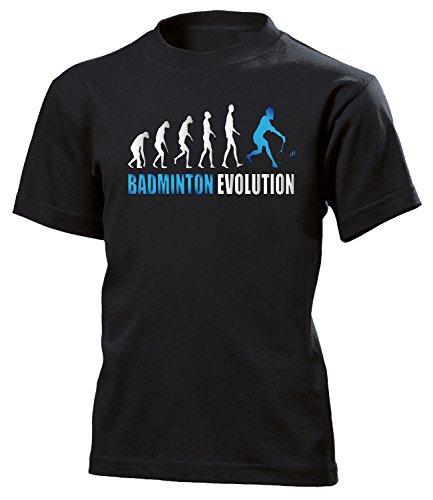 Badminton Evolution Sport 523 Shirt Tshirt Fanartikel Fanshirt Kids Jungen Mädchen Unisex Sportbekleidung Kinder T-Shirts Schwarz Aufdruck Blau 152