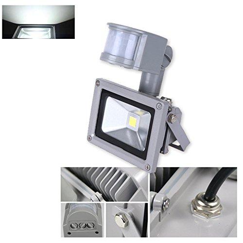 VINGO®10W 20W 30W 100W Warmweiß Kaltweiss LED Strahler Fluter Außen Leuchte Bewegungsmelder Sensorlicht mit Bewegungsmelder (10W Kaltweiss)